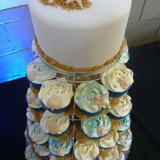 Shells Wedding Top Cake and Cupcakes