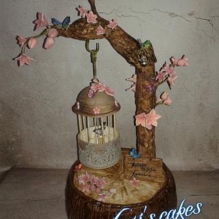 hanging bird cagr cake