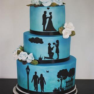Pearlised blue silhouette wedding cake