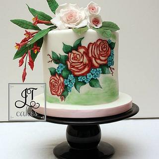 Sugar flowers and hand painted roses.