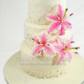 Stargazer Lily Wedding Cake - Cake by Nom Nom Sweeties