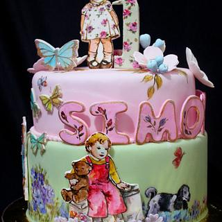Vintage Dick and Jane Birthday Cake - Cake by Mucchio di Bella