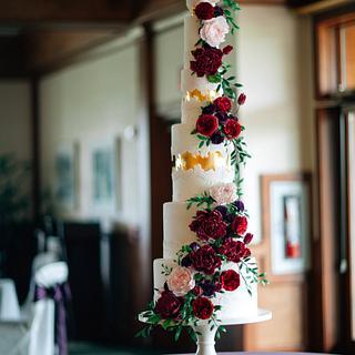 Sugar Flower and Sugar Lace Wedding Cake