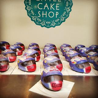 30 Airbrushed Max Verstappen Helmet Cakes made in 4 days...