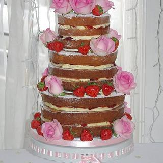 Naked Wedding Cake with Strawberries