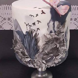 Broken wings ; sugar art tegen pesten vwz Mathi's hoop collaboration  - Cake by Judith-JEtaarten