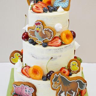 Farm naked cake