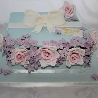 Square hat box cake