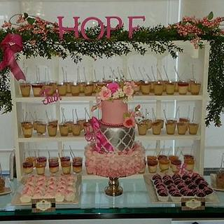 Pink ombre ruffles cake dessert table