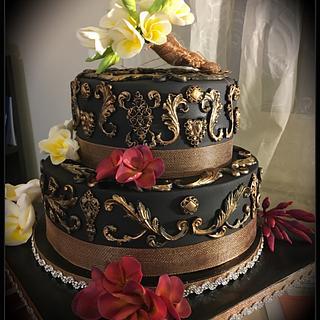 Elegant Sugar Frangipani 50th Birthday Cake