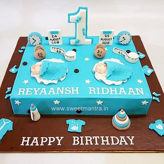 Pleasing Twin Boys Birthday Cake 6 Cakes Cakesdecor Personalised Birthday Cards Veneteletsinfo