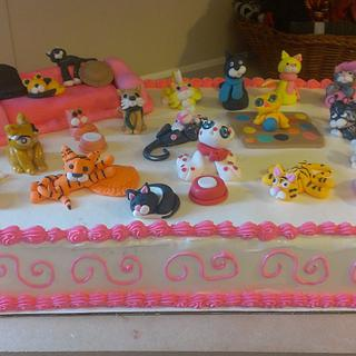 Cool Crazy Cats---1/2 Sheet Cake - Cake by Bronecia (custom cakes)