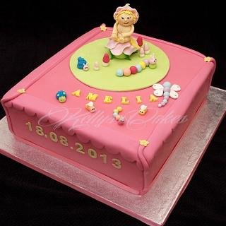 Christening cake with fairy topper and critters - Cake by Kelly