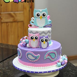 Owl and Paisley Baby Shower Cake