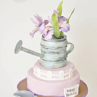 Iris Gardening Birthday Cake