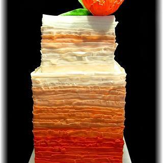 Orange Ombre Cake & Peony (double barrel)