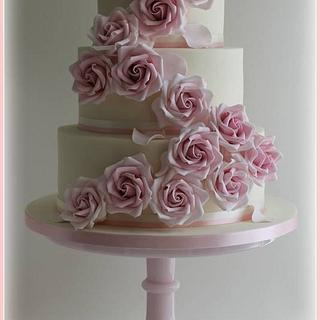 Baby Pink Rose Cascade - Cake by Fancie Buns