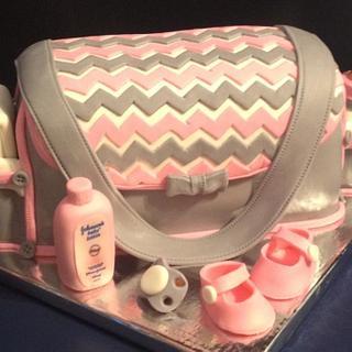 Diaper Bag Baby Shower Cake - Cake by Tracy's Custom Cakery LLC