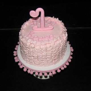 Pink Ruffle First Birthday Cake