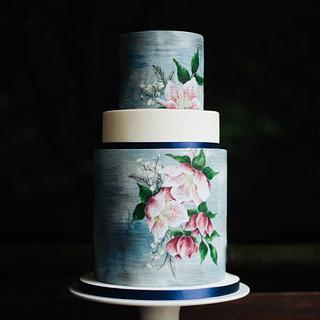 Textured watercolour cake with hand painted hellebores