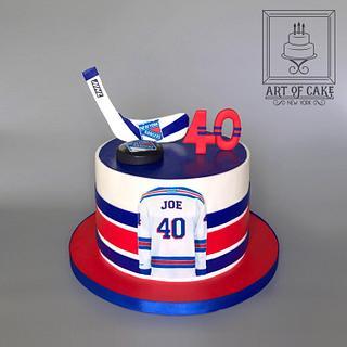 NEw York Rangers Hockey themed cake