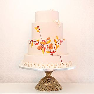 Daphne Hand painted wedding cake