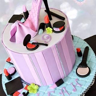 Makeup High heel shoe cake - Cake by Sugar Tree Cakerie