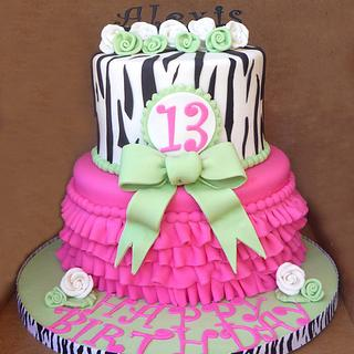 Icing Smiles Cake: Zebra, pink and lime green