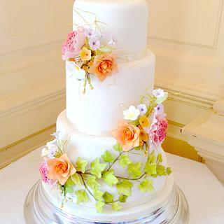 4 tier Harvest flowers cake