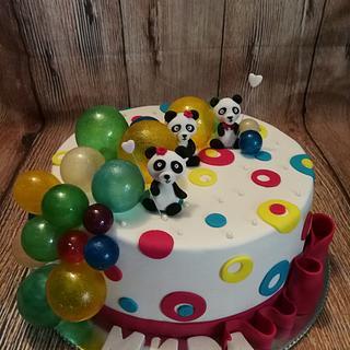 Panda's with many balloons - Cake by Galito