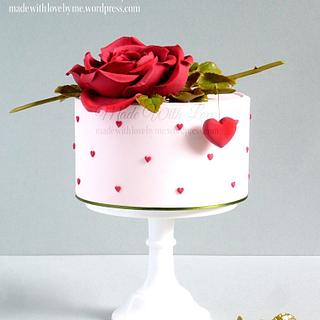 Hearts and Rose Valentine's Cake