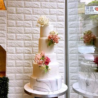 Five Tiers Wedding Cake