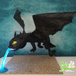 Flying Night Fury Spitting Fire - Cake by Bety'Sugarland by Elisabete Caseiro