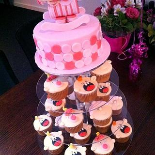Katie's Baby Shower Cake n Cupcakes - Cake by Lydia Evans