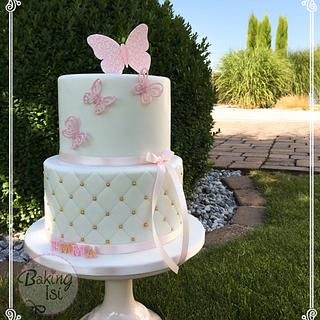 Christening cake in pink and gold