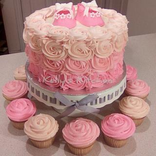 Buttercream rosette baby shower cake