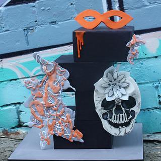 Cuties Street Art Inspired skull cake