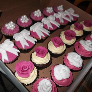My first ever cupcakes, vintage pink, pearls, roses, lace, bows