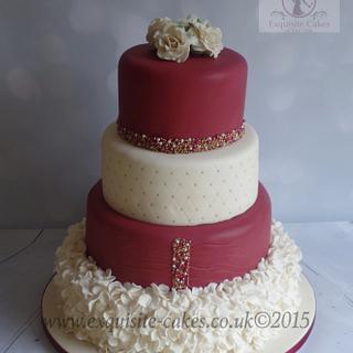 Plum and Cream Wedding Cake