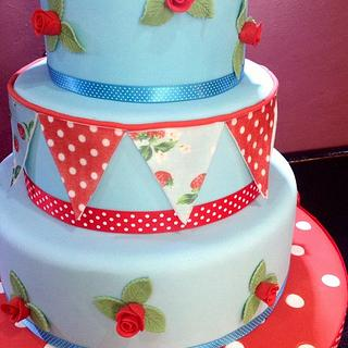 Cath kidston themed cake and cupcakes