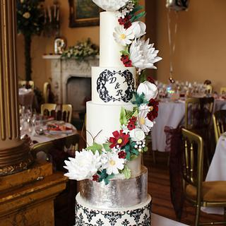 Damask, flowers and silver leaf! - Cake by Holly Miller