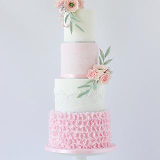 Romantic soft pink wedding cake