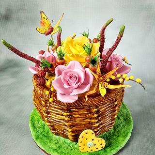 Roses,brassada orchids,rose hips,buterrfly,speedwell