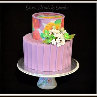 Pleated Floral Cake