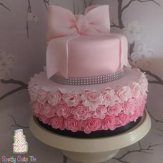 Ombre Ruffle Rose and Bow cake