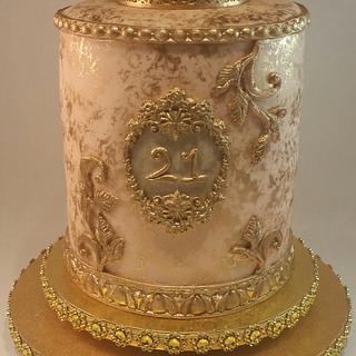 Peach Blush/Gold 21st Birthday Cake