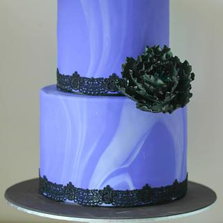 Purple Marble Wedding Cake - Cake by SweetDanni