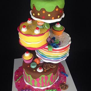 Gravity defying Candyland cake