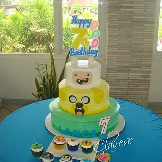 Adventure time themed cake & cupcakes - Cake by AnnCriezl