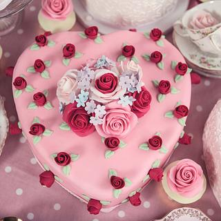 Pink heart shaped cake